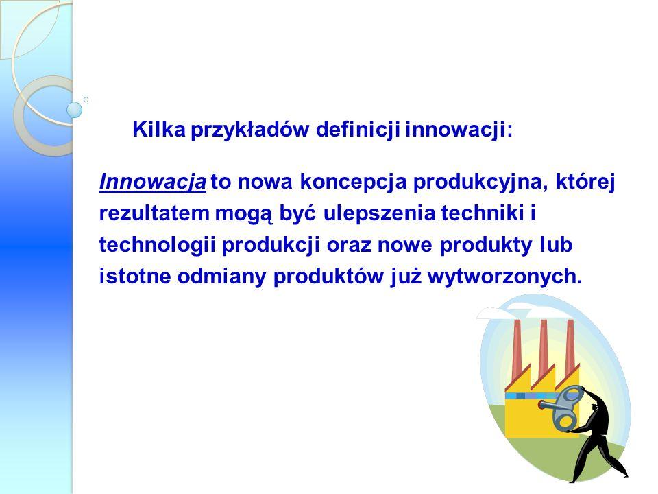 Kilka przykładów definicji innowacji: Innowacja to nowa koncepcja produkcyjna, której rezultatem mogą być ulepszenia techniki i technologii produkcji