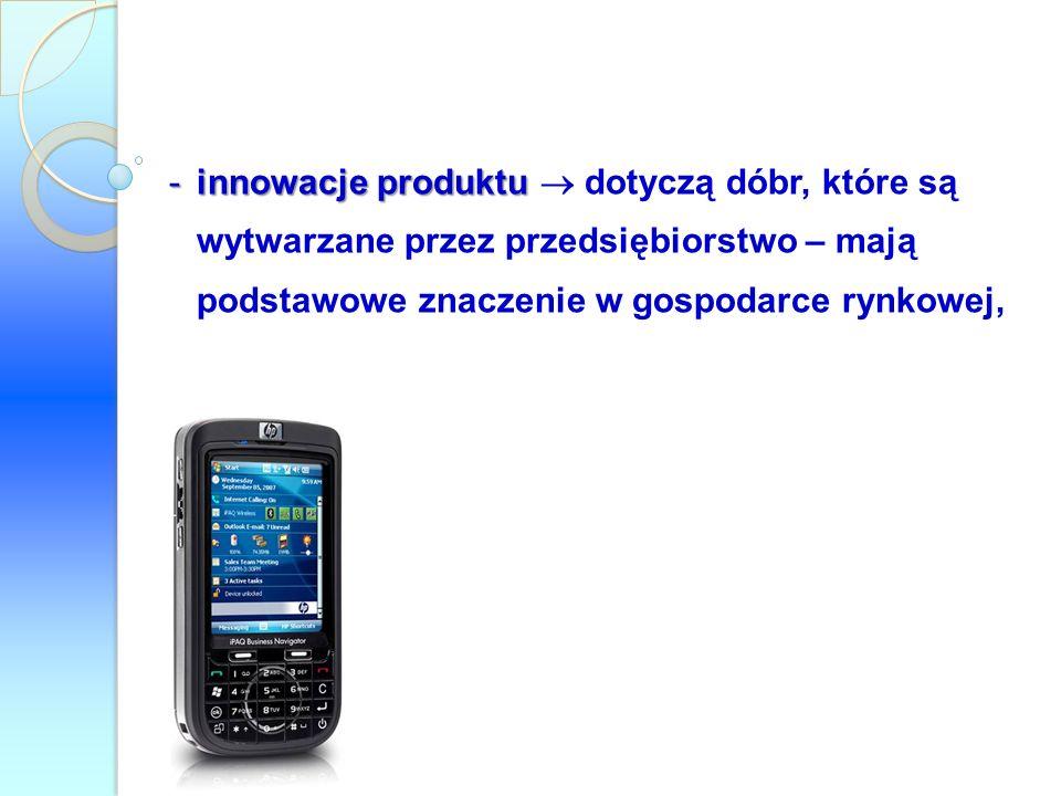 -innowacje produktu -innowacje produktu dotyczą dóbr, które są wytwarzane przez przedsiębiorstwo – mają podstawowe znaczenie w gospodarce rynkowej,