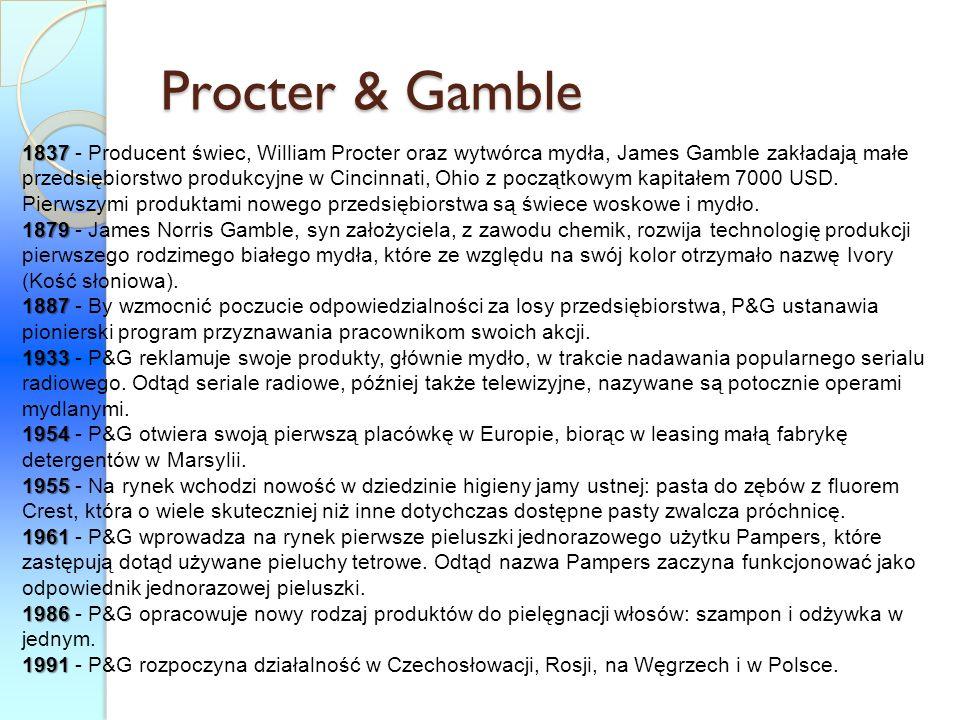 Procter & Gamble 1837 1837 - Producent świec, William Procter oraz wytwórca mydła, James Gamble zakładają małe przedsiębiorstwo produkcyjne w Cincinna