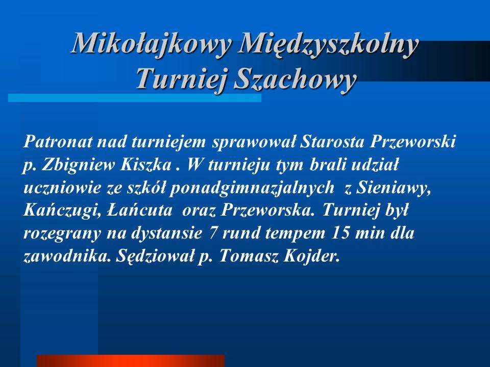 Mikołajkowy Międzyszkolny Turniej Szachowy Patronat nad turniejem sprawował Starosta Przeworski p.