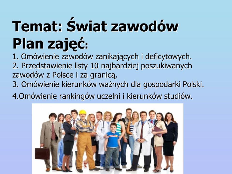 N ajbardziej poszukiwane zawody w Polsce w 2010 roku Na liście znalazło się kilka nowych zawodów: Pracownicy hoteli i restauracji (poz.