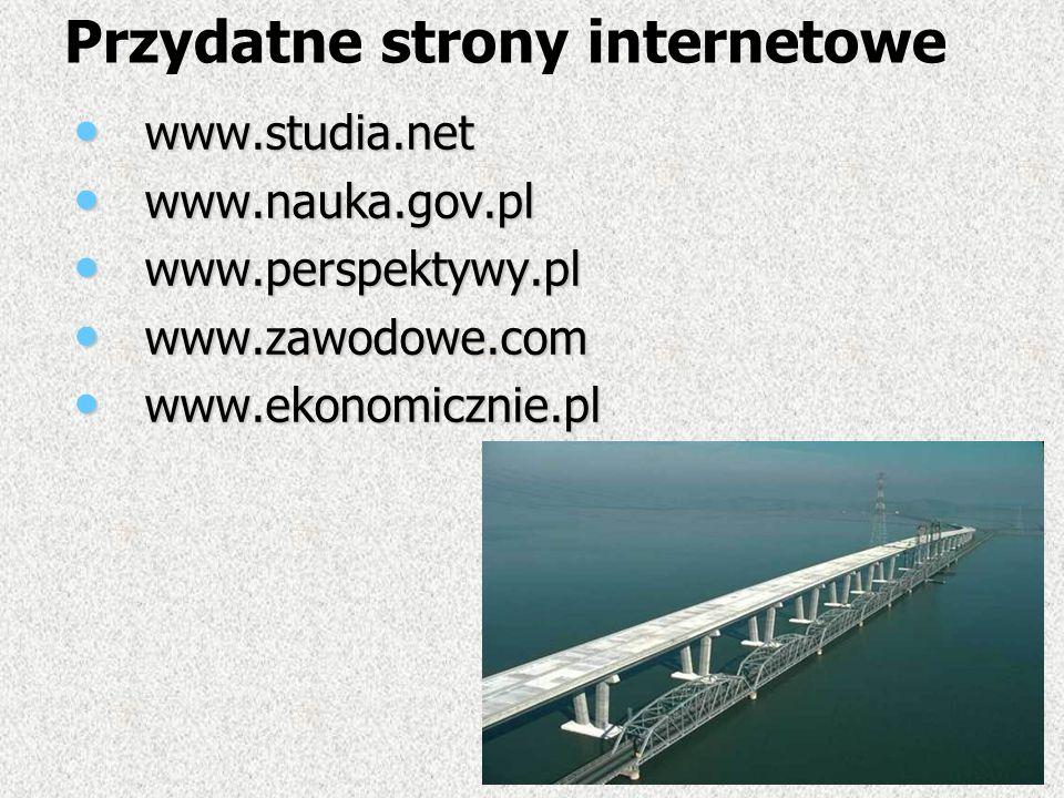 Przydatne strony internetowe www.studia.net www.studia.net www.nauka.gov.pl www.nauka.gov.pl www.perspektywy.pl www.perspektywy.pl www.zawodowe.com ww