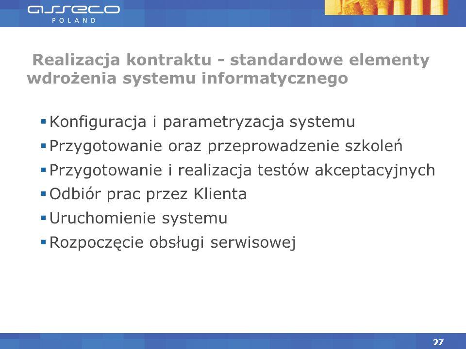 Realizacja kontraktu Typowe zobowiązania stron w projekcie w zakresie wdrożenia Instalacja, konfiguracja infrastruktury technicznej oraz aplikacji Reakcja na zmiany zakresu pojawiające się w czasie realizacji prac wdrożeniowych Identyfikacja ryzyk oraz reakcja na ujawnione ryzyka Prowadzenie rejestru problemów pojawiających się w projekcie 26