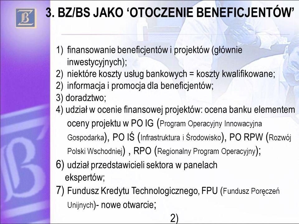 1)finansowanie beneficjentów i projektów (głównie inwestycyjnych); 2)niektóre koszty usług bankowych = koszty kwalifikowane; 2)informacja i promocja d