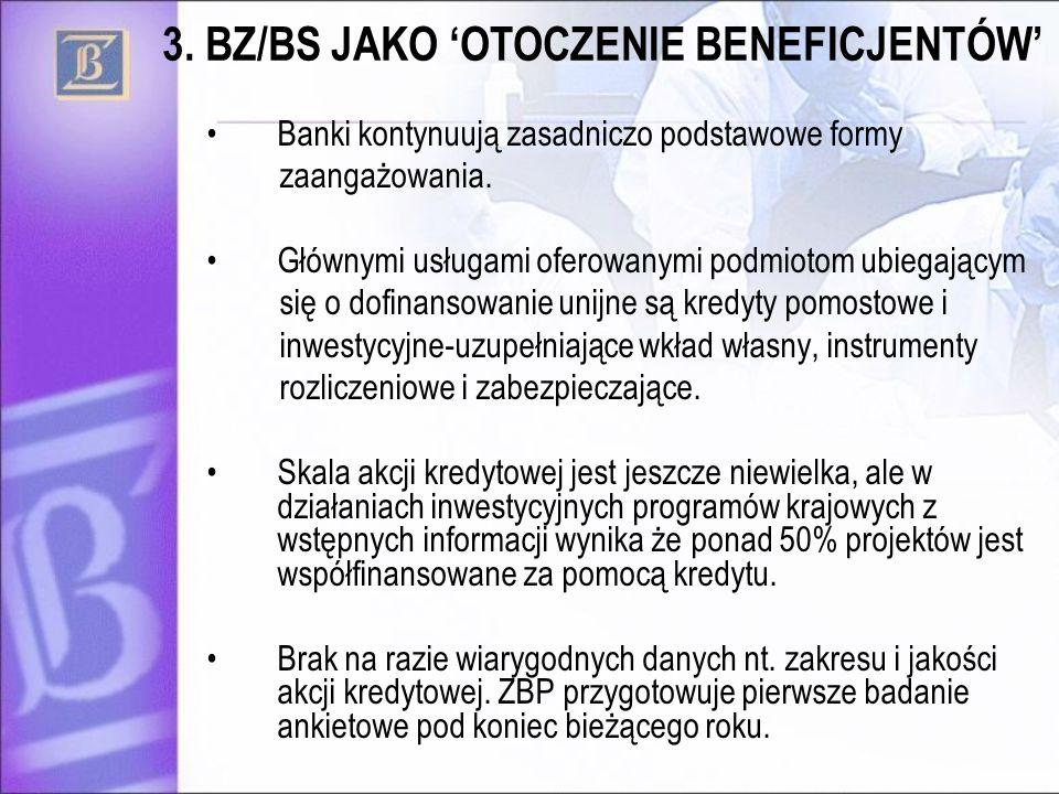 Banki kontynuują zasadniczo podstawowe formy zaangażowania. Głównymi usługami oferowanymi podmiotom ubiegającym się o dofinansowanie unijne są kredyty