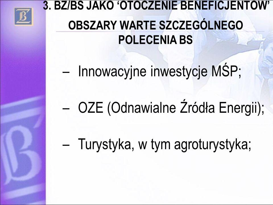 OBSZARY WARTE SZCZEGÓLNEGO POLECENIA BS –Innowacyjne inwestycje MŚP; –OZE (Odnawialne Źródła Energii); –Turystyka, w tym agroturystyka; 3. BZ/BS JAKO