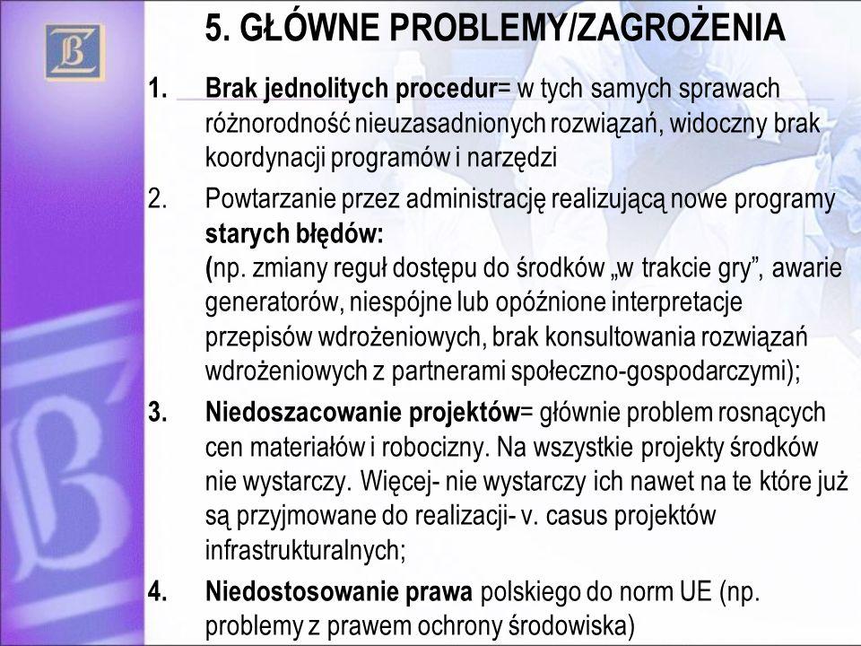 5. GŁÓWNE PROBLEMY/ZAGROŻENIA 1.Brak jednolitych procedur = w tych samych sprawach różnorodność nieuzasadnionych rozwiązań, widoczny brak koordynacji