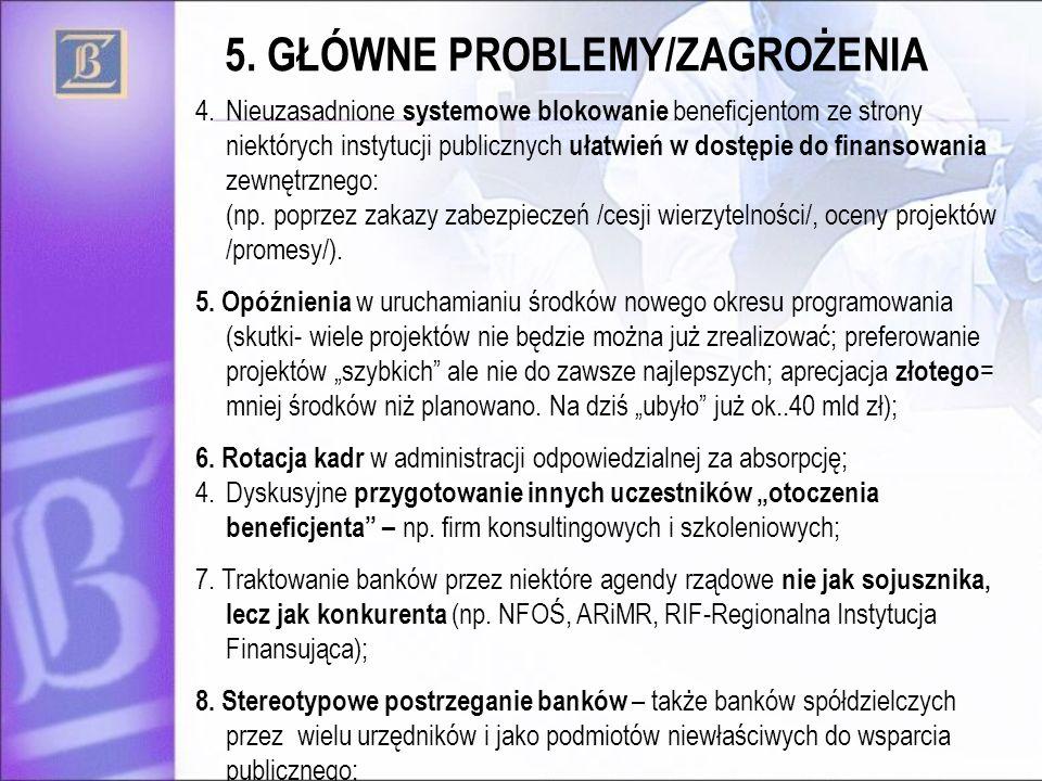 5. GŁÓWNE PROBLEMY/ZAGROŻENIA 4.Nieuzasadnione systemowe blokowanie beneficjentom ze strony niektórych instytucji publicznych ułatwień w dostępie do f