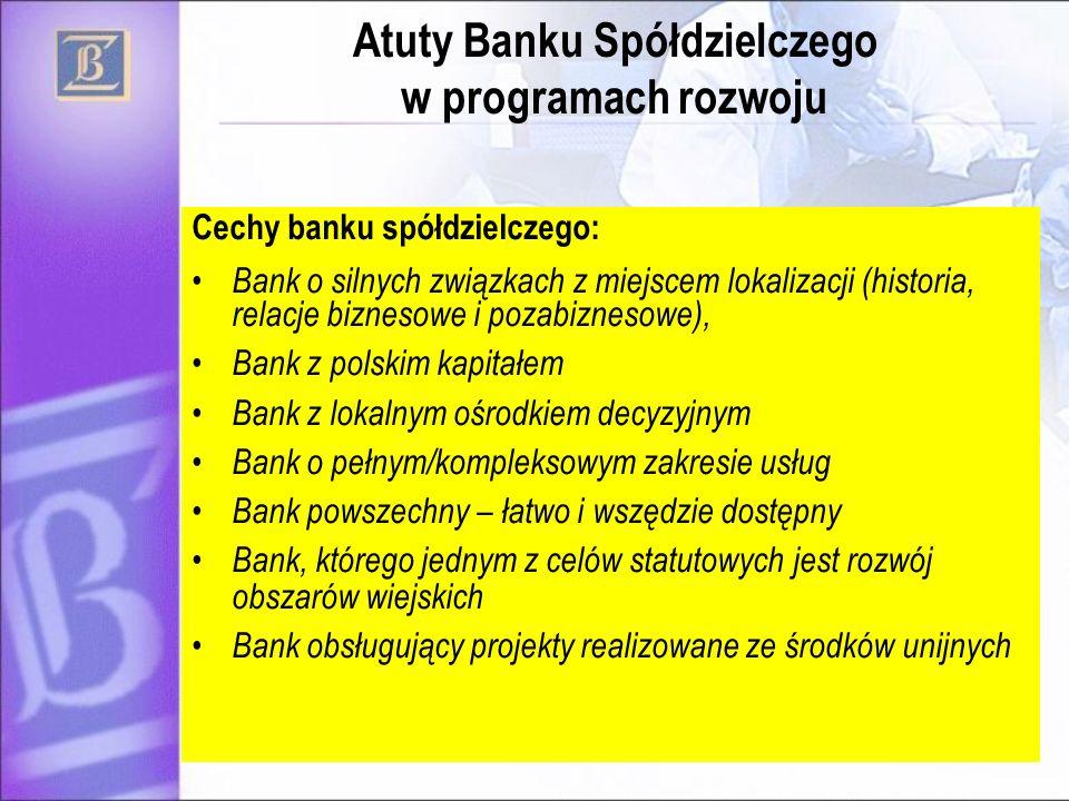 4 Cechy banku spółdzielczego: Bank o silnych związkach z miejscem lokalizacji (historia, relacje biznesowe i pozabiznesowe), Bank z polskim kapitałem