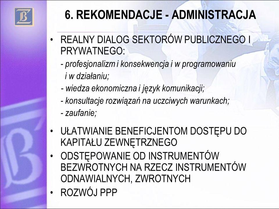 6. REKOMENDACJE - ADMINISTRACJA REALNY DIALOG SEKTORÓW PUBLICZNEGO I PRYWATNEGO: - profesjonalizm i konsekwencja i w programowaniu i w działaniu; - wi