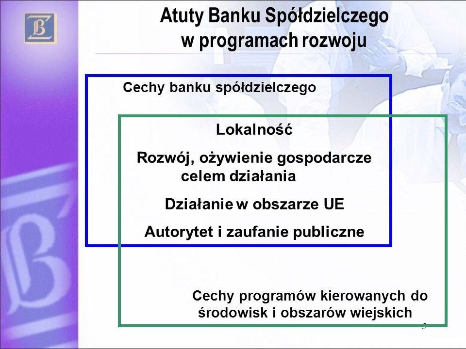 5 Cechy banku spółdzielczego Lokalność Rozwój, ożywienie gospodarcze celem działania Działanie w obszarze UE Autorytet i zaufanie publiczne Cechy prog