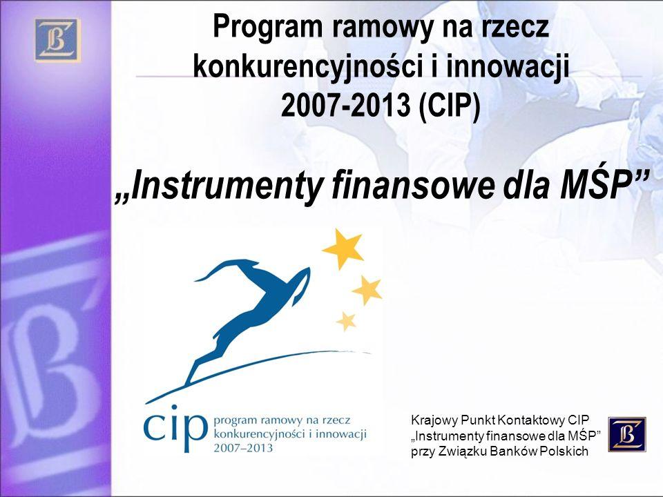 Krajowy Punkt Kontaktowy CIP Instrumenty finansowe dla MŚP przy Związku Banków Polskich Program ramowy na rzecz konkurencyjności i innowacji 2007-2013