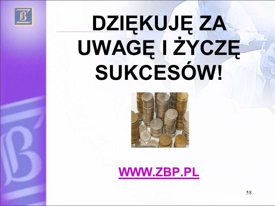 58 DZIĘKUJĘ ZA UWAGĘ I ŻYCZĘ SUKCESÓW! WWW.ZBP.PL