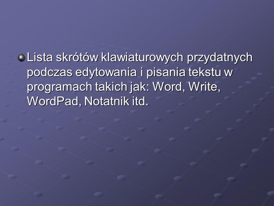 CTRL+C Kopiuje zaznaczony tekst.CTRL+C Kopiuje zaznaczony tekst.