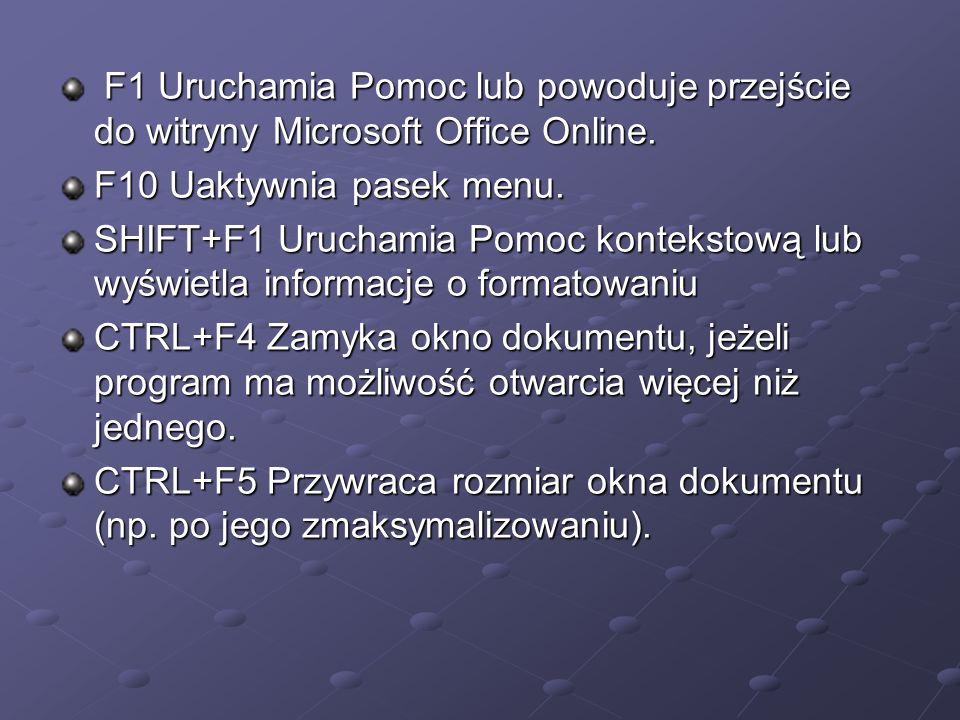 F1 Uruchamia Pomoc lub powoduje przejście do witryny Microsoft Office Online. F1 Uruchamia Pomoc lub powoduje przejście do witryny Microsoft Office On