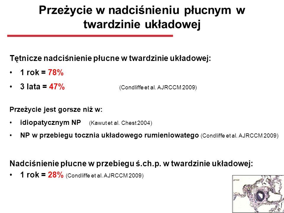 Przeżycie w nadciśnieniu płucnym w twardzinie układowej Tętnicze nadciśnienie płucne w twardzinie układowej: 1 rok = 78% 3 lata = 47% (Condliffe et al