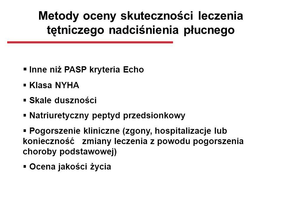 Metody oceny skuteczności leczenia tętniczego nadciśnienia płucnego Inne niż PASP kryteria Echo Klasa NYHA Skale duszności Natriuretyczny peptyd przed
