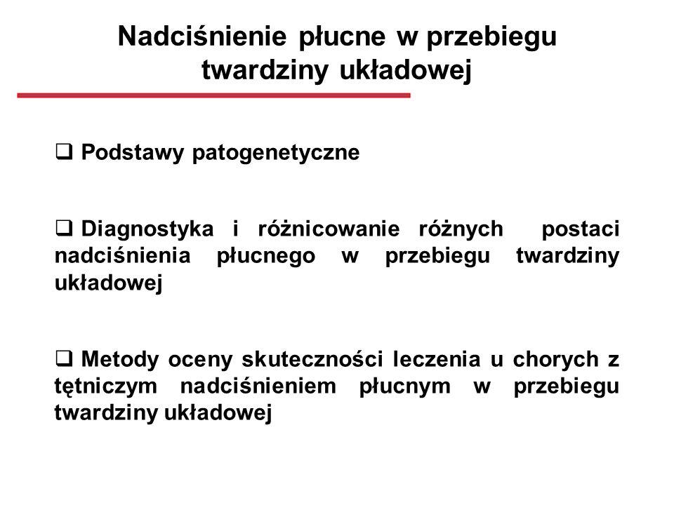 Duszność Testy czynnościowe płuc (FVC, DLCO) Rtg klatki piersiowej HRCT płuc Scyntygrafia perfuzyjno- wentylacyjana AngioCT Echo: PASP > 35 - 45 mmHg PFTs: FVC/DLCO > 1.6 Echo-Doppler ŚChP NIEWYDOLNOŚĆ LK TĘTNICZE NADCIŚNIENIE PŁUCNE Twardzina układowa Cewnikowanie prawego serca: Pomiary ciśnień Test z wazodilatatorami (-)