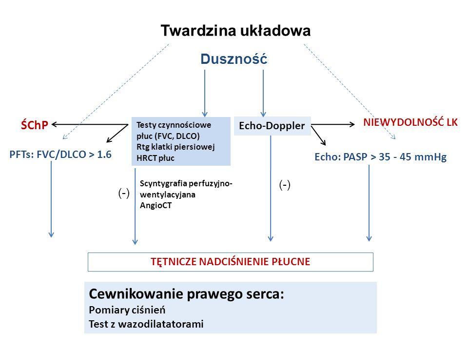 Duszność Testy czynnościowe płuc (FVC, DLCO) Rtg klatki piersiowej HRCT płuc Scyntygrafia perfuzyjno- wentylacyjana AngioCT Echo: PASP > 35 - 45 mmHg