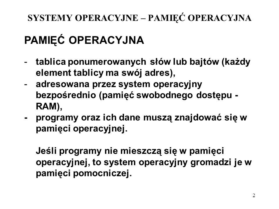 2 SYSTEMY OPERACYJNE – PAMIĘĆ OPERACYJNA PAMIĘĆ OPERACYJNA - tablica ponumerowanych słów lub bajtów (każdy element tablicy ma swój adres), - adresowan