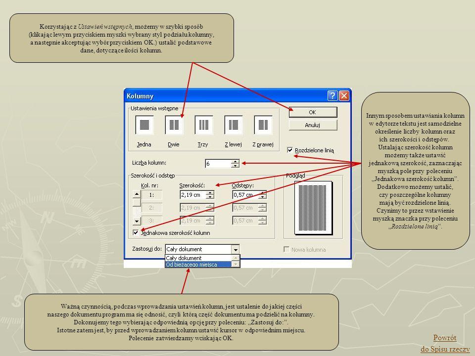 Korzystając z Ustawień wstępnych, możemy w szybki sposób (klikając lewym przyciskiem myszki wybrany styl podziału kolumny, a następnie akceptując wybó
