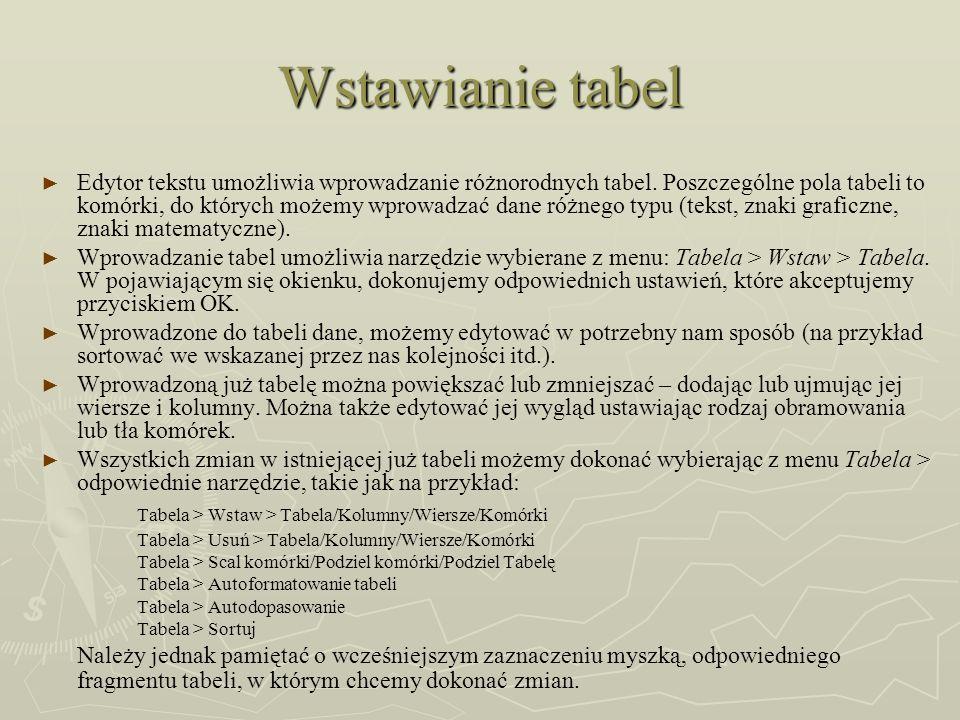 Wstawianie tabel Edytor tekstu umożliwia wprowadzanie różnorodnych tabel. Poszczególne pola tabeli to komórki, do których możemy wprowadzać dane różne