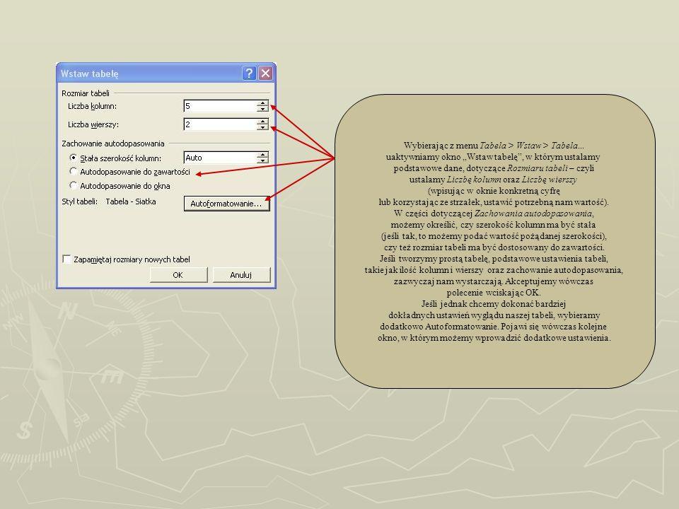 Wybierając z menu Tabela > Wstaw > Tabela... uaktywniamy okno Wstaw tabelę, w którym ustalamy podstawowe dane, dotyczące Rozmiaru tabeli – czyli ustal