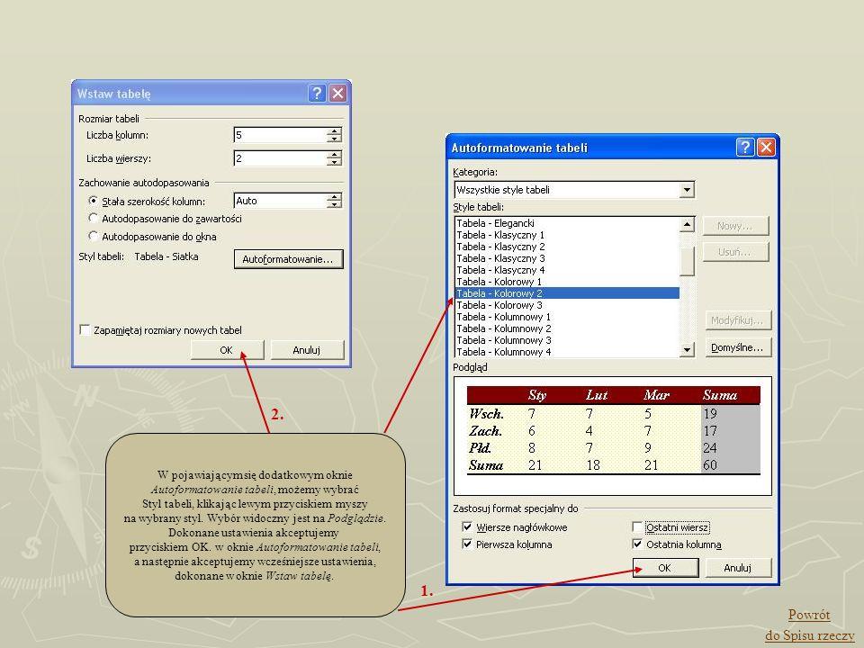 W pojawiającym się dodatkowym oknie Autoformatowanie tabeli, możemy wybrać Styl tabeli, klikając lewym przyciskiem myszy na wybrany styl. Wybór widocz