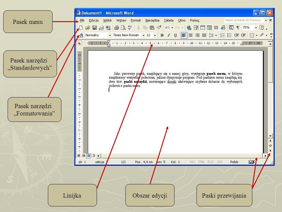 Pasek menu Pasek narzędzi Standardowych Pasek narzędzi Formatowania LinijkaObszar edycjiPaski przewijania