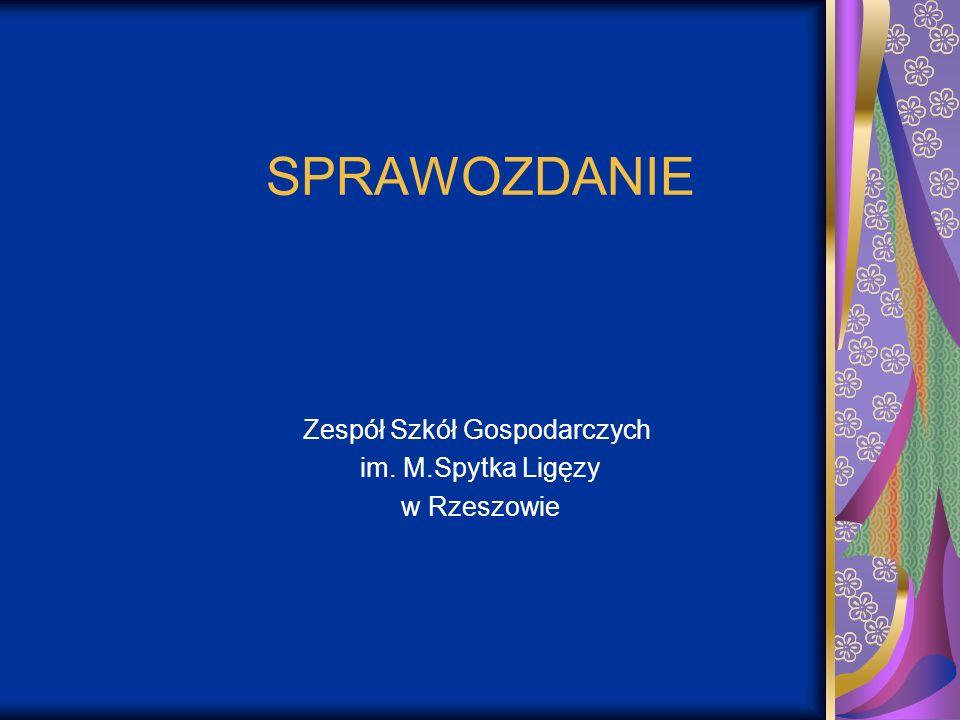 SPRAWOZDANIE Zespół Szkół Gospodarczych im. M.Spytka Ligęzy w Rzeszowie