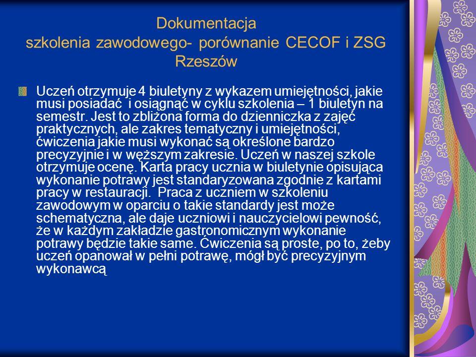 Dokumentacja szkolenia zawodowego- porównanie CECOF i ZSG Rzeszów Uczeń otrzymuje 4 biuletyny z wykazem umiejętności, jakie musi posiadać i osiągnąć w
