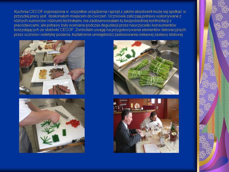 Kuchnia CECOF wyposażona w wszystkie urządzenia i sprzęt z jakimi absolwent może się spotkać w przyszłej pracy jest doskonałym miejscem do ćwiczeń. Uc