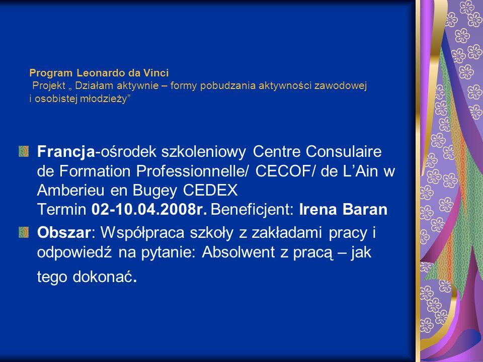 Program Leonardo da Vinci Projekt Działam aktywnie – formy pobudzania aktywności zawodowej i osobistej młodzieży Francja-ośrodek szkoleniowy Centre Co