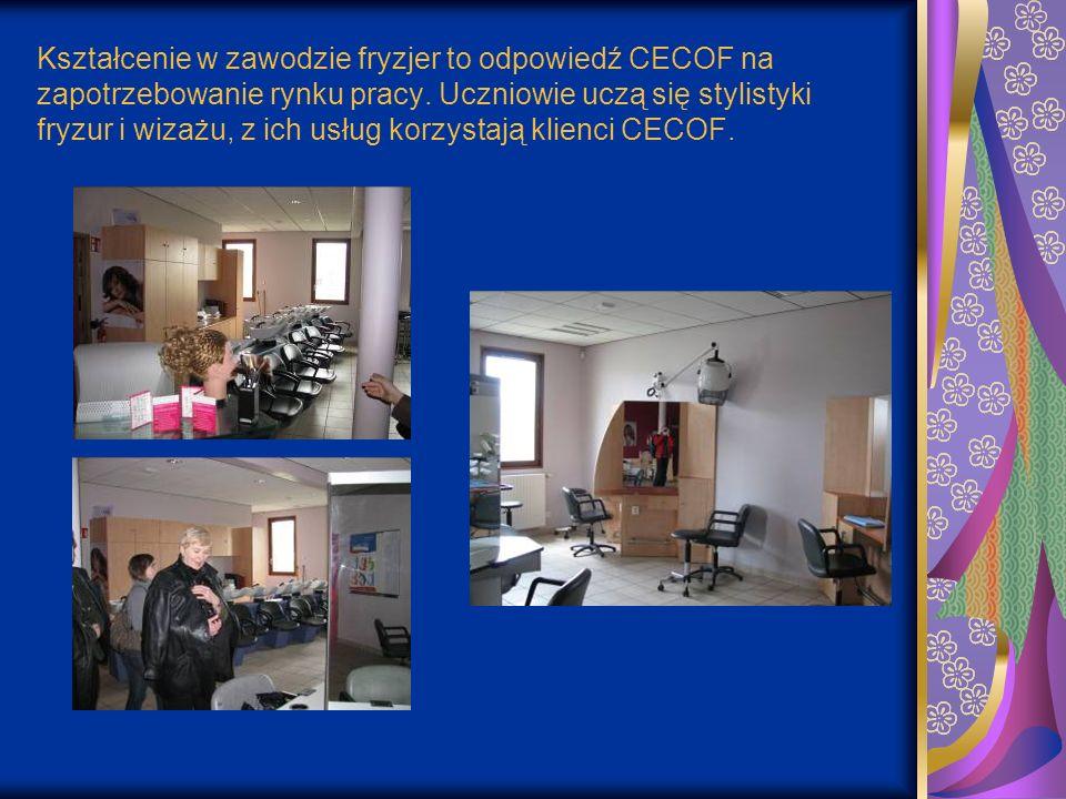 Kształcenie w zawodzie fryzjer to odpowiedź CECOF na zapotrzebowanie rynku pracy. Uczniowie uczą się stylistyki fryzur i wizażu, z ich usług korzystaj