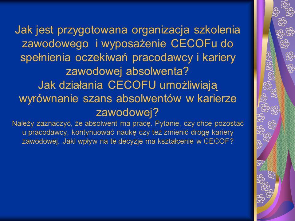 Jak jest przygotowana organizacja szkolenia zawodowego i wyposażenie CECOFu do spełnienia oczekiwań pracodawcy i kariery zawodowej absolwenta? Jak dzi