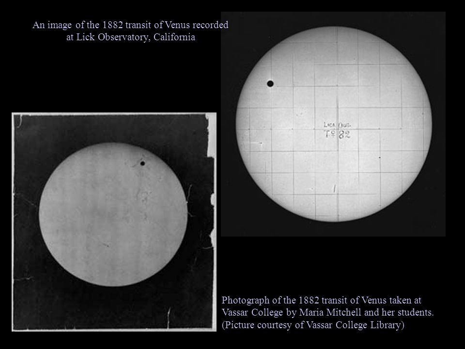 Photograph of the 1882 transit of Venus taken at Vassar College by Maria Mitchell and her students.