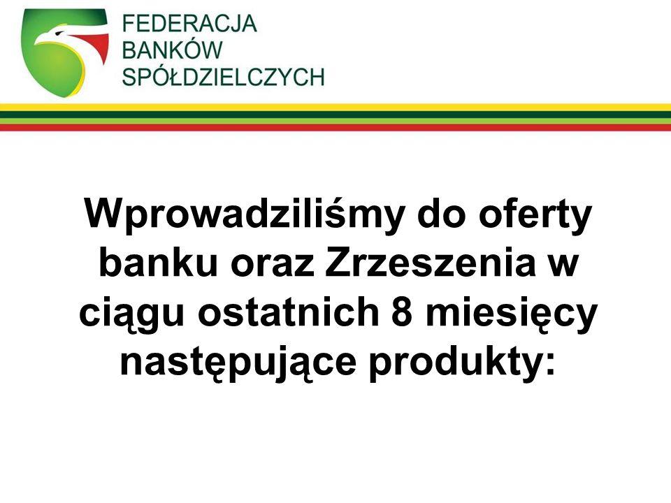 Wprowadziliśmy do oferty banku oraz Zrzeszenia w ciągu ostatnich 8 miesięcy następujące produkty: