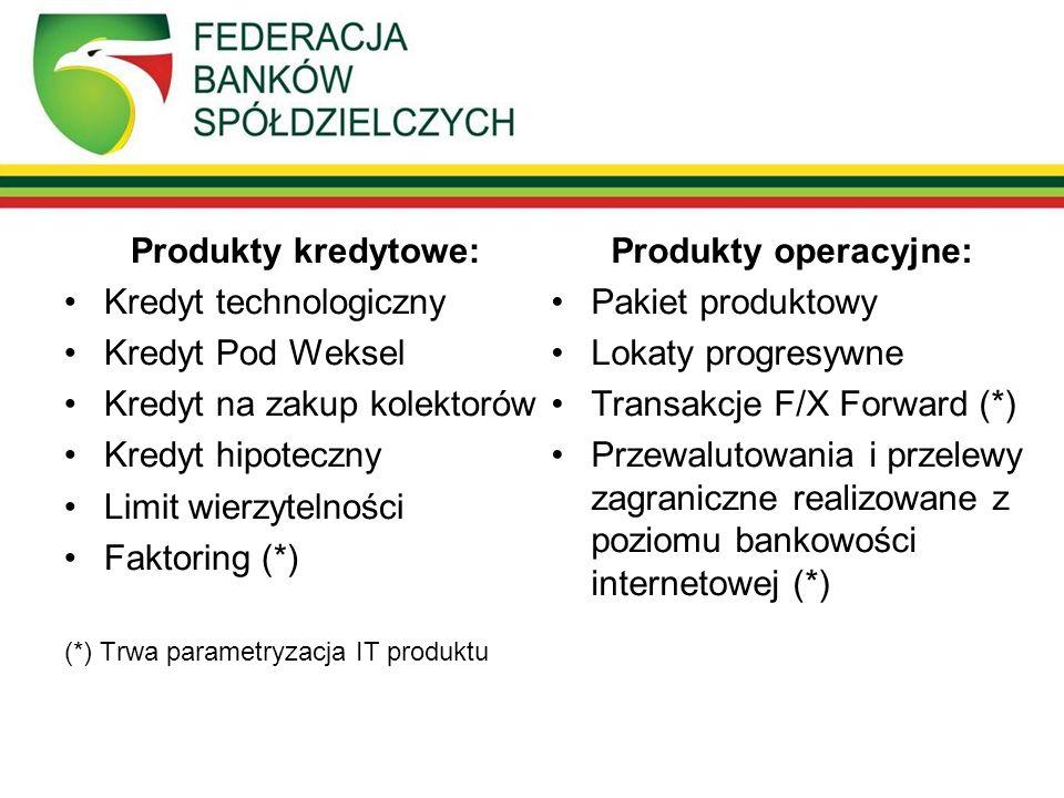 Produkty kredytowe: Kredyt technologiczny Kredyt Pod Weksel Kredyt na zakup kolektorów Kredyt hipoteczny Limit wierzytelności Faktoring (*) (*) Trwa parametryzacja IT produktu Produkty operacyjne: Pakiet produktowy Lokaty progresywne Transakcje F/X Forward (*) Przewalutowania i przelewy zagraniczne realizowane z poziomu bankowości internetowej (*)