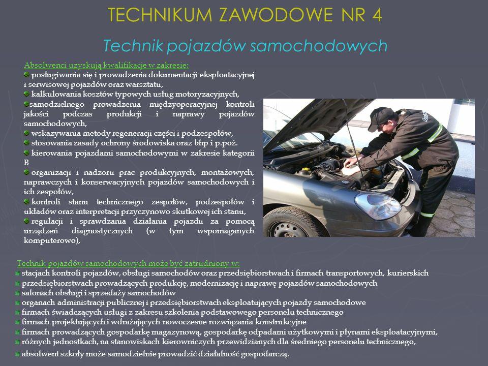 Technik pojazdów samochodowych może być zatrudniony w: stacjach kontroli pojazdów, obsługi samochodów oraz przedsiębiorstwach i firmach transportowych, kurierskich przedsiębiorstwach prowadzących produkcję, modernizację i naprawę pojazdów samochodowych salonach obsługi i sprzedaży samochodów organach administracji publicznej i przedsiębiorstwach eksploatujących pojazdy samochodowe firmach świadczących usługi z zakresu szkolenia podstawowego personelu technicznego firmach projektujących i wdrażających nowoczesne rozwiązania konstrukcyjne firmach prowadzących gospodarkę magazynową, gospodarkę odpadami użytkowymi i płynami eksploatacyjnymi, różnych jednostkach, na stanowiskach kierowniczych przewidzianych dla średniego personelu technicznego, absolwent szkoły może samodzielnie prowadzić działalność gospodarczą.