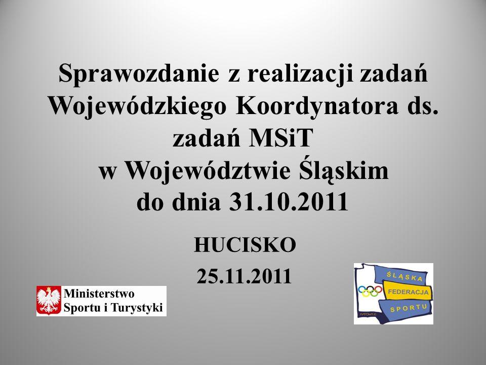 Sprawozdanie z realizacji zadań Wojewódzkiego Koordynatora ds. zadań MSiT w Województwie Śląskim do dnia 31.10.2011 HUCISKO 25.11.2011