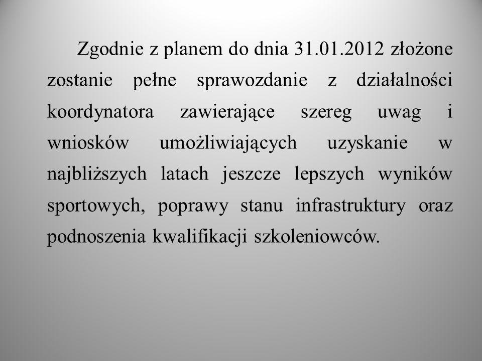 Zgodnie z planem do dnia 31.01.2012 złożone zostanie pełne sprawozdanie z działalności koordynatora zawierające szereg uwag i wniosków umożliwiających
