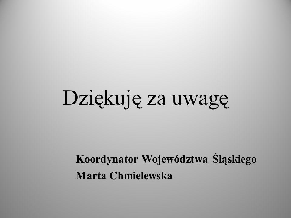 Dziękuję za uwagę Koordynator Województwa Śląskiego Marta Chmielewska