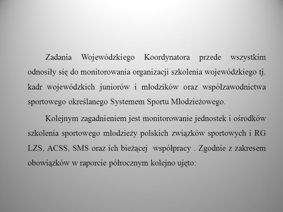 Zadania Wojewódzkiego Koordynatora przede wszystkim odnosiły się do monitorowania organizacji szkolenia wojewódzkiego tj. kadr wojewódzkich juniorów i