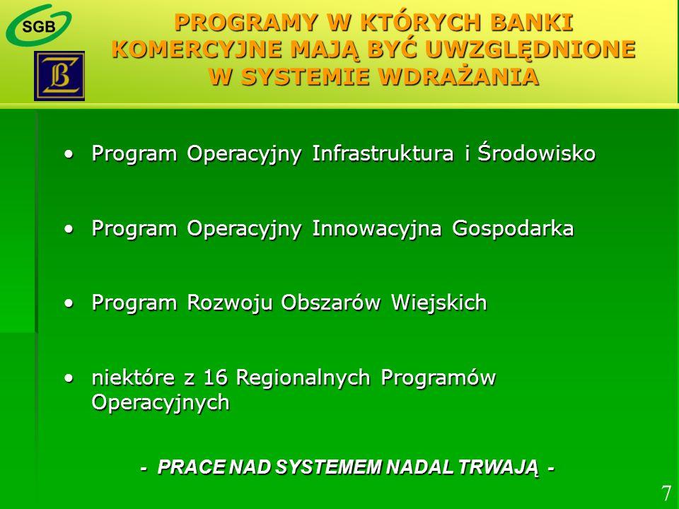 PROGRAMY W KTÓRYCH BANKI KOMERCYJNE MAJĄ BYĆ UWZGLĘDNIONE W SYSTEMIE WDRAŻANIA Program Operacyjny Infrastruktura i ŚrodowiskoProgram Operacyjny Infras