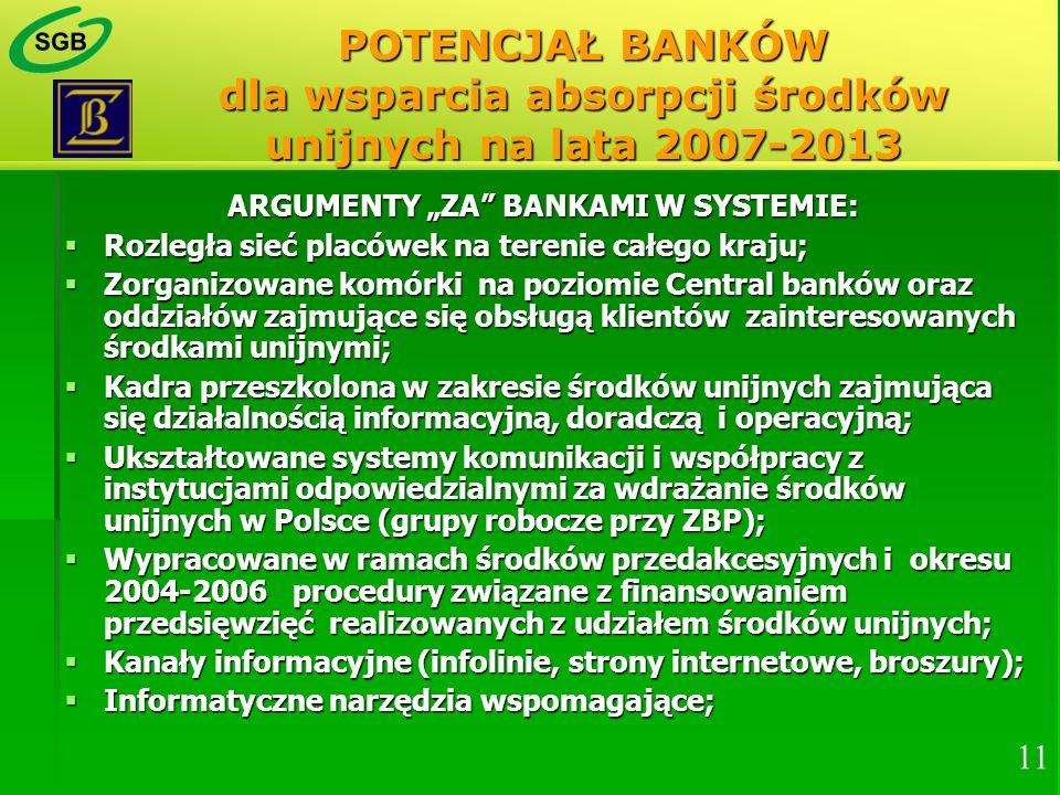 POTENCJAŁ BANKÓW dla wsparcia absorpcji środków unijnych na lata 2007-2013 ARGUMENTY ZA BANKAMI W SYSTEMIE: Rozległa sieć placówek na terenie całego k