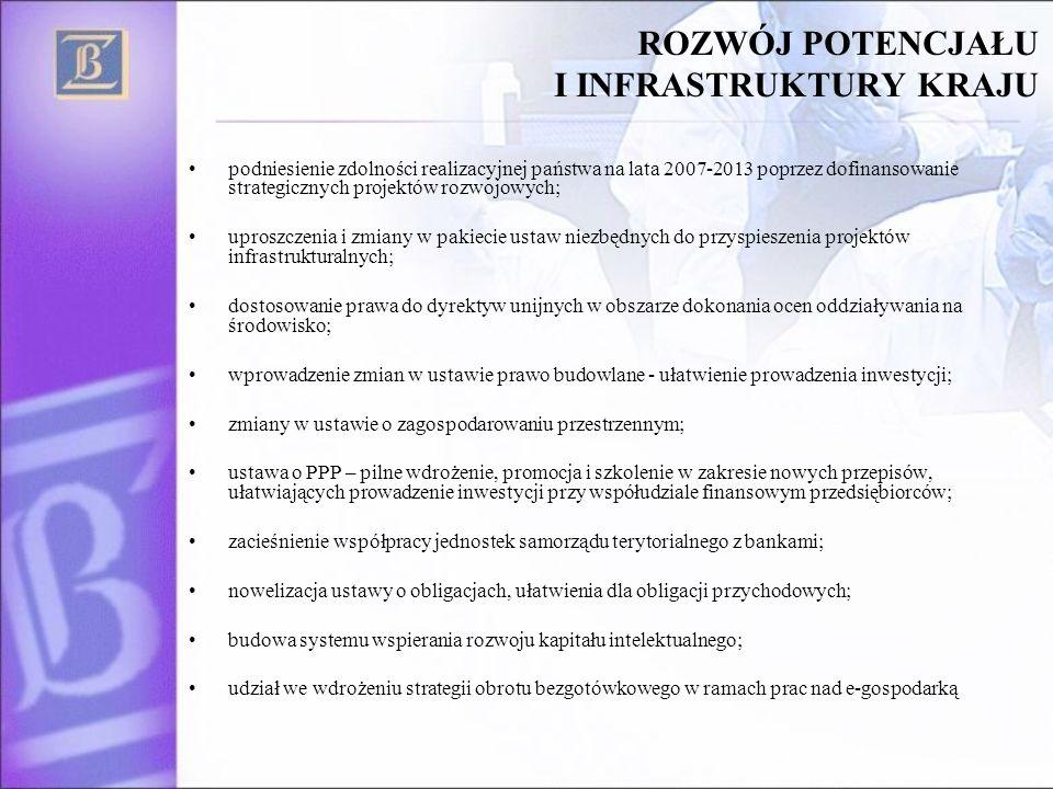 ROZWÓJ POTENCJAŁU I INFRASTRUKTURY KRAJU podniesienie zdolności realizacyjnej państwa na lata 2007-2013 poprzez dofinansowanie strategicznych projektó