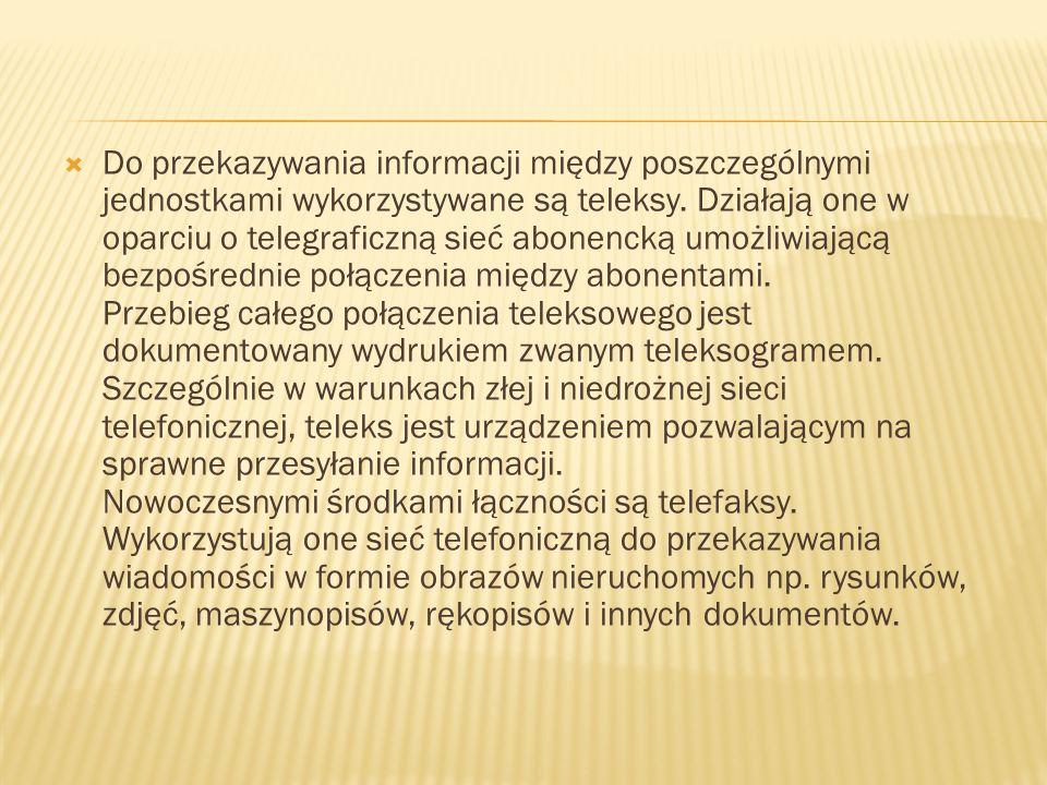 Do przekazywania informacji między poszczególnymi jednostkami wykorzystywane są teleksy. Działają one w oparciu o telegraficzną sieć abonencką umożliw