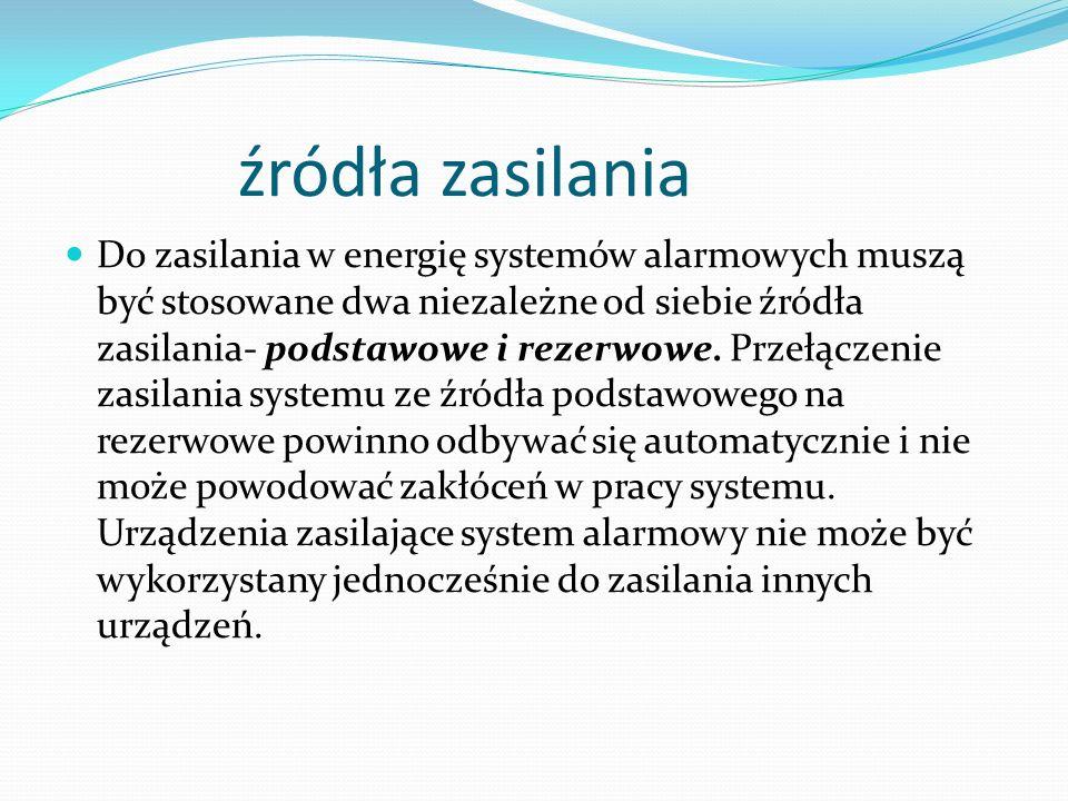 źródła zasilania Do zasilania w energię systemów alarmowych muszą być stosowane dwa niezależne od siebie źródła zasilania- podstawowe i rezerwowe. Prz