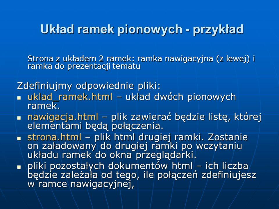 Układ ramek pionowych - przykład Strona z układem 2 ramek: ramka nawigacyjna (z lewej) i ramka do prezentacji tematu Zdefiniujmy odpowiednie pliki: uk