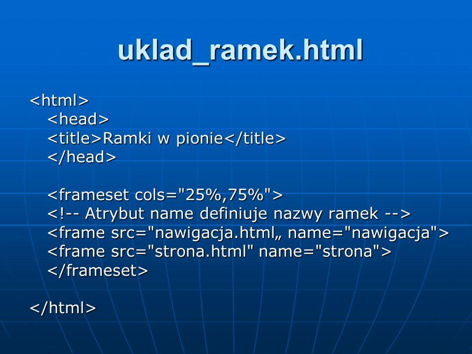 uklad_ramek.html <html><head> Ramki w pionie Ramki w pionie </head> </frameset>